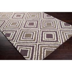 Hand-tufted Olive New York Ave Geometric Diamond Wool Rug (8' x 11') - Thumbnail 1