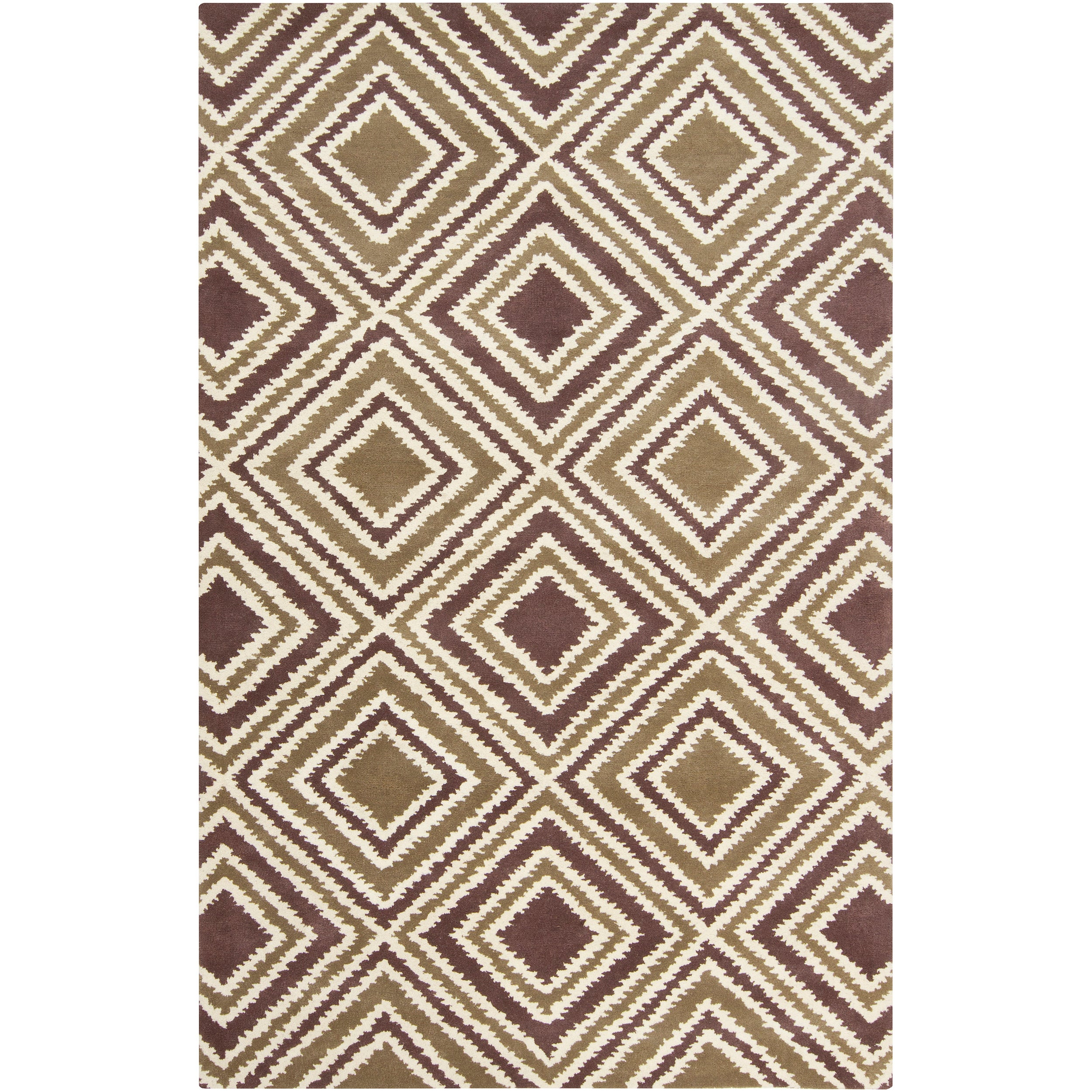 Hand-tufted Olive New York Ave Geometric Diamond Wool Area Rug (9' x 13') - 9' x 13'