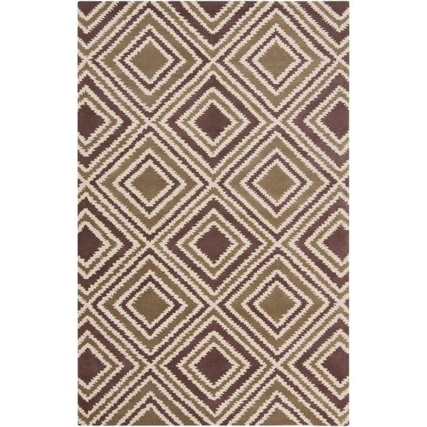 Hand-tufted Olive New York Ave Geometric Diamond Wool Area Rug - 9' x 13'