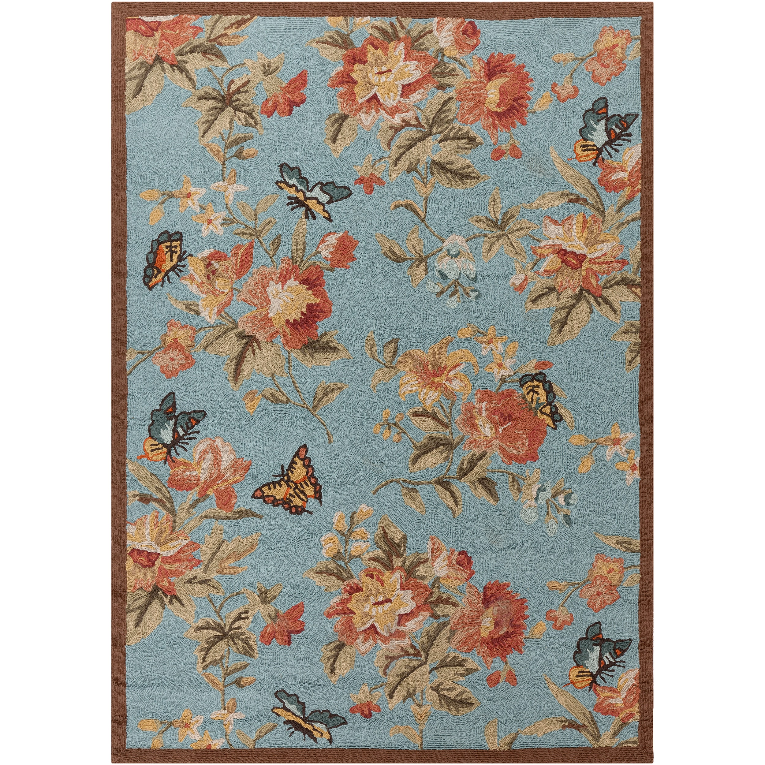 Hand hooked Blue Radiant Indoor Outdoor Floral Rug 5 x 7