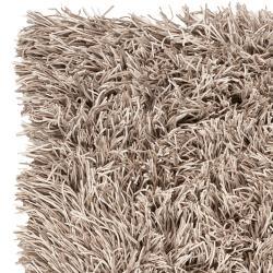 Hand-woven Beige Lowell New Zealand Felted Wool Plush Shag Rug (8' x 10')