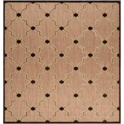 Woven Tan Cladagh Indoor/Outdoor Moroccan Geometric Lattice Rug (7'6 Square)