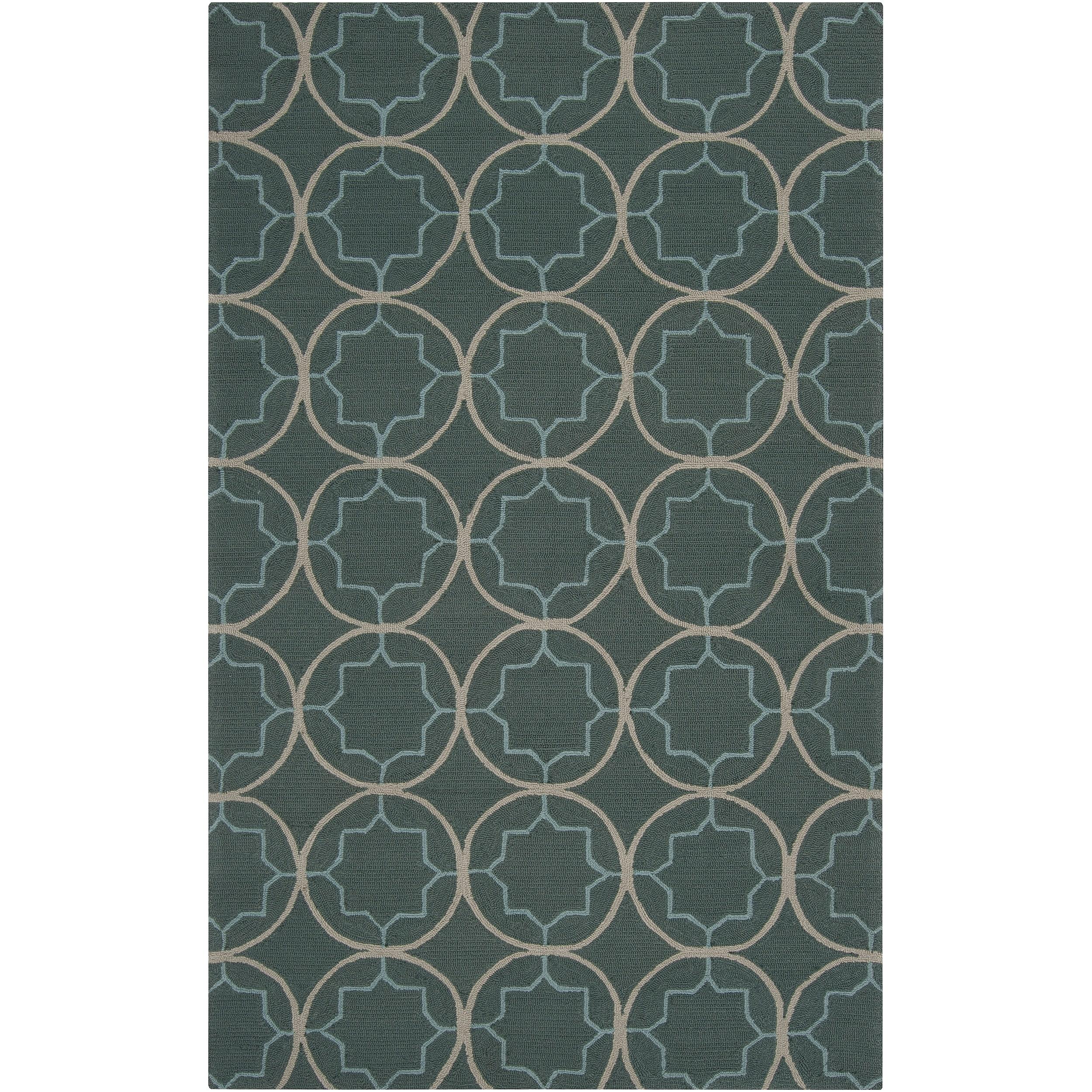 Hand-hooked Gray Cladagh Indoor/Outdoor Moroccan Trellis Rug (3' x 5')