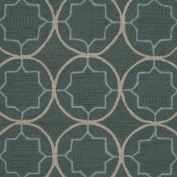 Hand-hooked Gray Cladagh Indoor/Outdoor Moroccan Trellis Rug (3' x 5') - Thumbnail 2