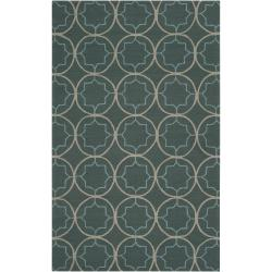 Hand-hooked Gray Cladagh Indoor/Outdoor Moroccan Trellis Area Rug - 3' x 5' - Thumbnail 0