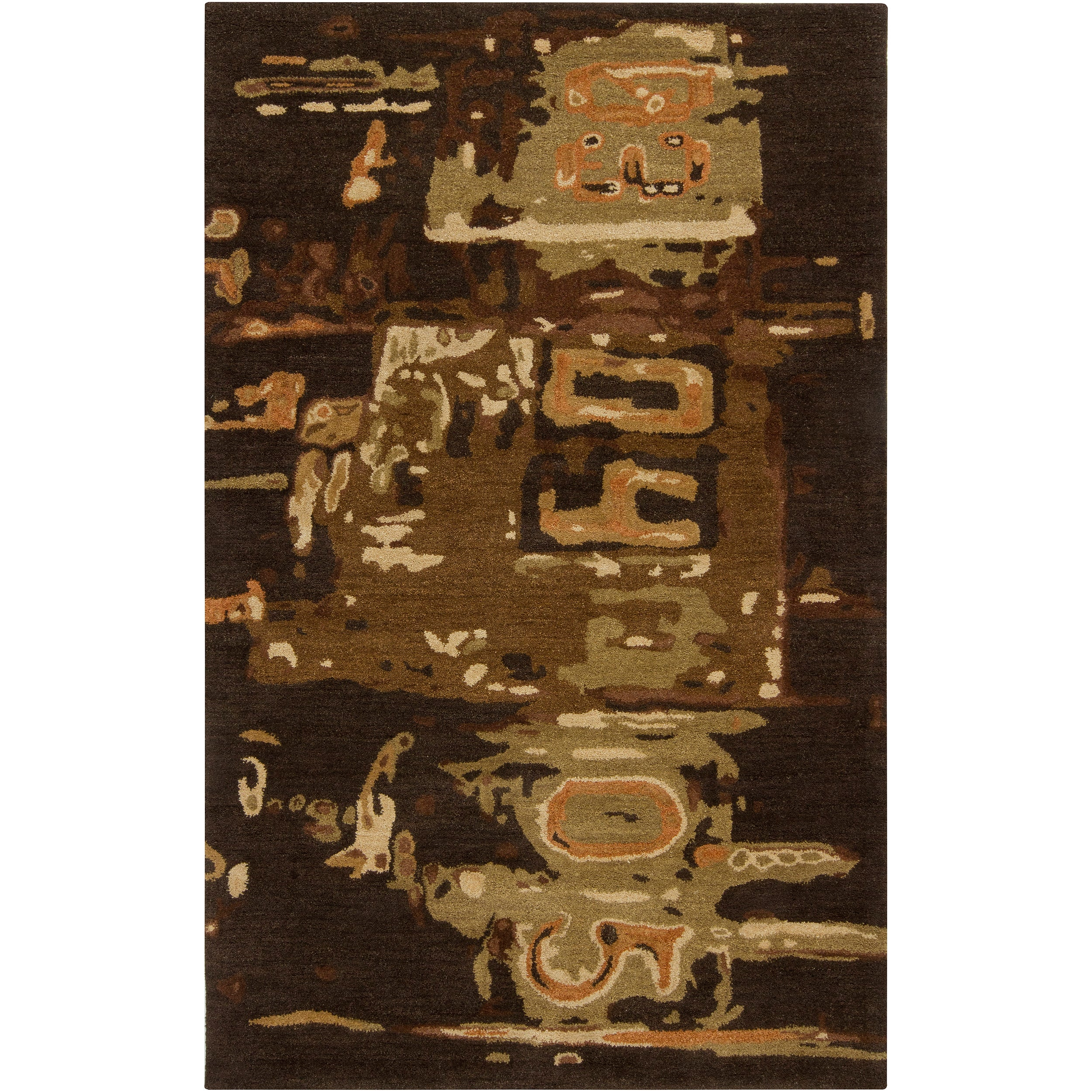 Hand-tufted Brown Rancick Abstract Pattern Wool Area Rug (9' x 13')