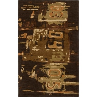 Hand-tufted Brown Rancick Abstract Pattern Wool Area Rug - 9' x 13'