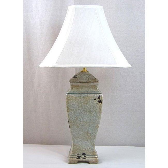 Distressed Grey Crackle Porcelain Table Lamp