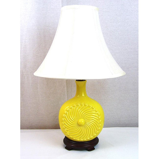 Ceramic Yellow Center Swirl I light Hand-crafted Table Lamp
