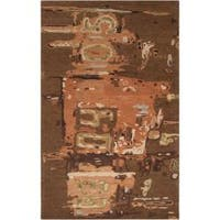 Hand-tufted Green Rancick Abstract Pattern Wool Area Rug (9' x 13')