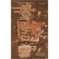Hand-tufted Green Rancick Abstract Pattern Wool Area Rug - 9' x 13'