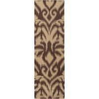 Hand-woven Brown Saged Wool Area Rug (2'6 x 8')