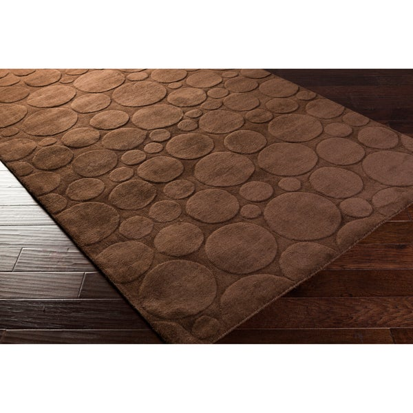 Candice Olson Loomed Brown Scuddle Geometric Circles Wool Runner Rug (2'6 x 8')