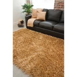 ... Hand Woven Gold South Hampton Soft Plush Shag Rug (3u00276 X 5