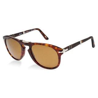 Persol Men's Steve McQueen 24/57 Havana Foldable Plastic Polarized Sunglasses