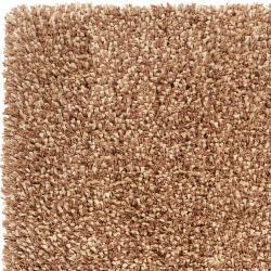 Hand-woven Brown Savanna New Zealand Wool Shag Rug (5' x 8') - Thumbnail 1