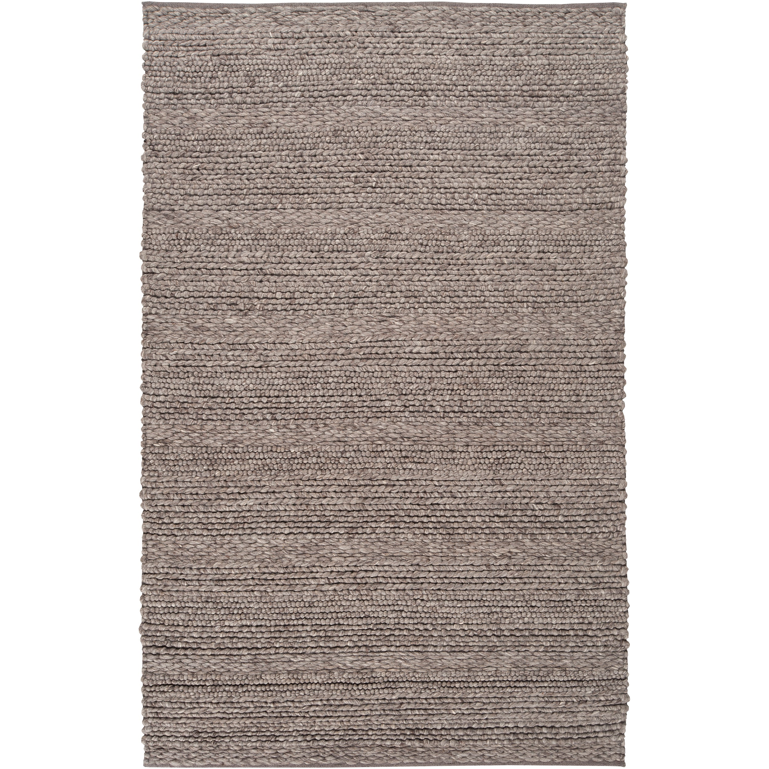 Hand-woven Casual Solid Grey Tame Wool Rug (5' x 8')