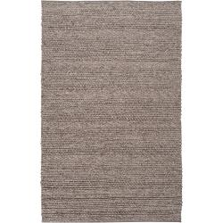 Hand-woven Casual Solid Grey Tame Wool Area Rug (5' x 8') - Thumbnail 0
