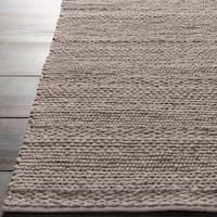 Hand-woven Casual Solid Grey Tame Wool Area Rug - 5' x 8'