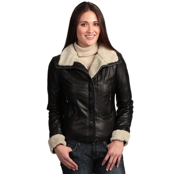 Black Collezione Women's Faux Leather Jacket
