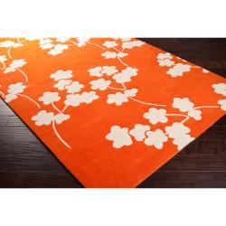Jill Rosenwald Hand-tufted Orange Reelan Floral Wool Rug (5' x 8') - Thumbnail 1