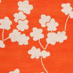 Jill Rosenwald Hand-tufted Orange Reelan Floral Wool Rug (5' x 8') - Thumbnail 2