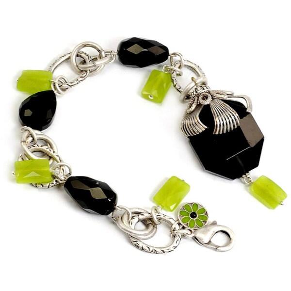 Sweet Romance Silvertone Green and Black Crystal Bracelet