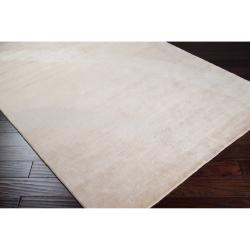 Hand-knotted Beige Eau Claire Wool and Viscose Solid Rug (2' x 3') - Thumbnail 1