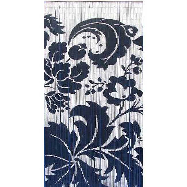 Handpainted Blue And White Floral Indoor Bamboo Curtain