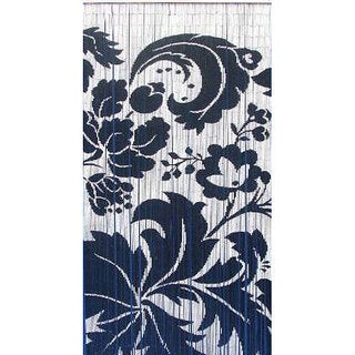 Handpainted Blue and White Floral Indoor Bamboo Curtain  , Handmade in Vietnam