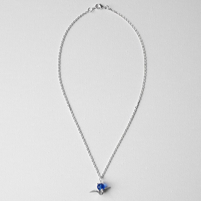 Adrienne Audrey Jewelry Silver Crane Necklace with Blue Crystal