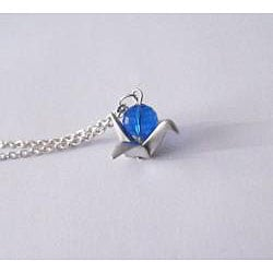 Adrienne Audrey Jewelry Silver Crane Necklace with Blue Crystal - Thumbnail 1