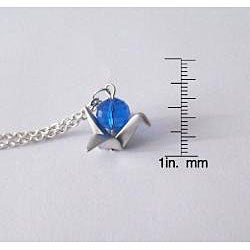 Adrienne Audrey Jewelry Silver Crane Necklace with Blue Crystal - Thumbnail 2