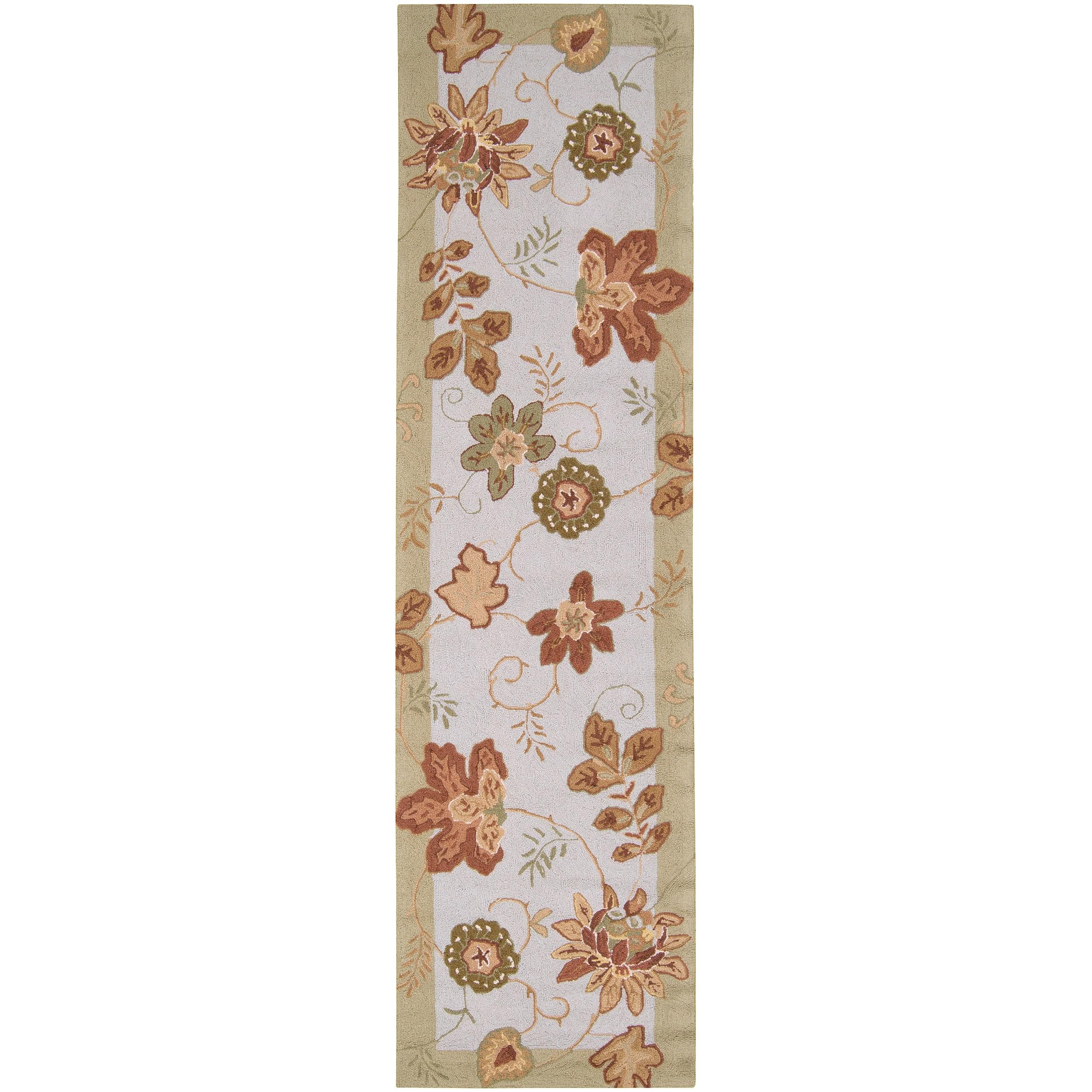 "Hand-Hooked Multicolored Grante Wool Runner Rug (2'6"" x 4')"