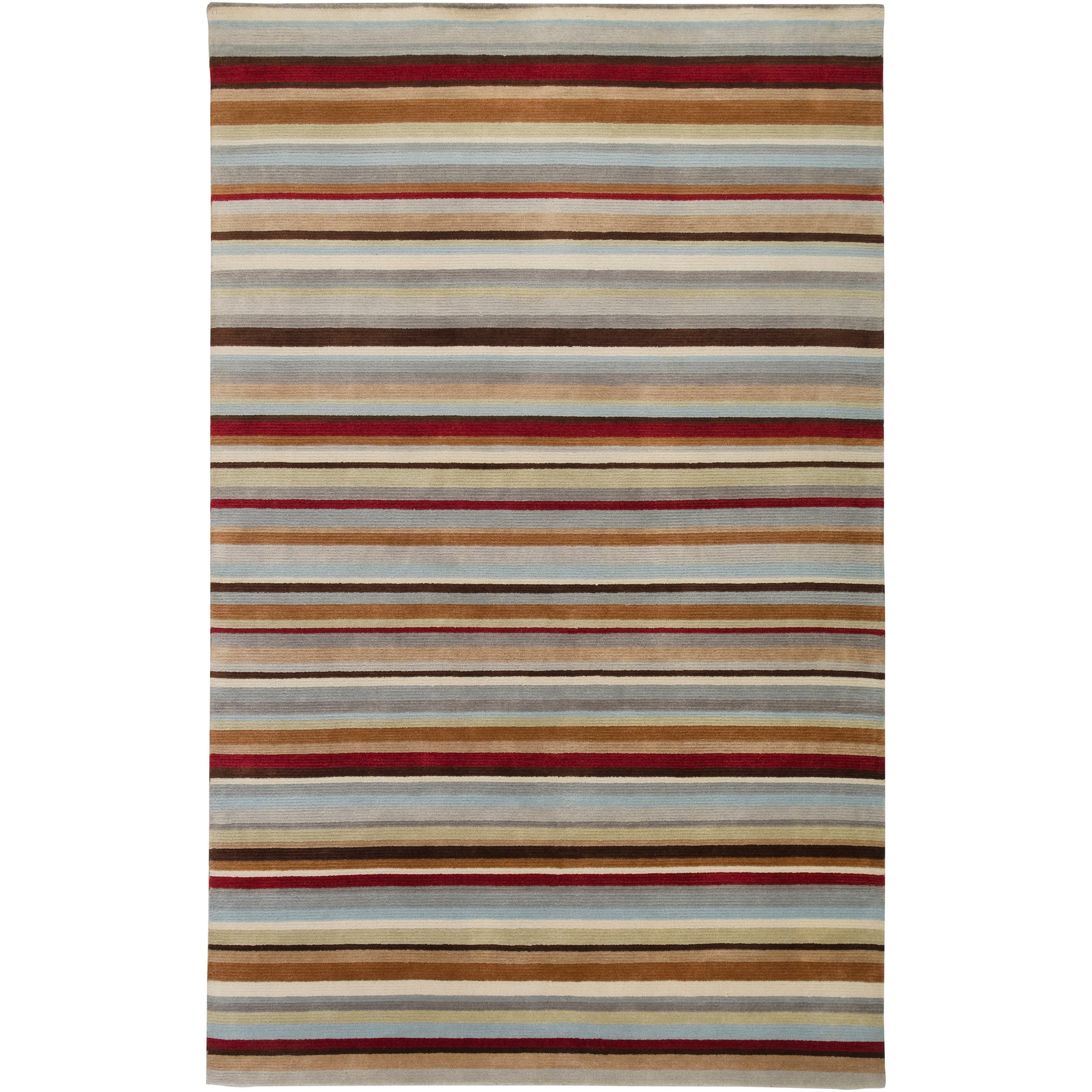 Contemporary Hand-Knotted Multicolored Eau Claire Stripe Wool Area Rug (2' x 3')