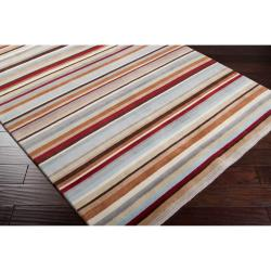 Contemporary Hand-Knotted Multicolored Eau Claire Stripe Wool Area Rug (2' x 3') - Thumbnail 1
