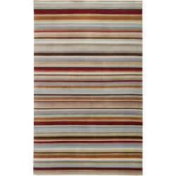 Contemporary Hand-Knotted Multicolored Eau Claire Stripe Wool Rug (2' x 3')