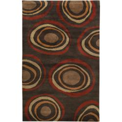 Hand-knotted Multicolored Eau Claire Geometric Circles Wool Rug (2' x 3')