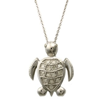 Beverly Hills Charm Silver 1/4ct TDW Diamond Turtle Necklace (H-I, I2-I3)