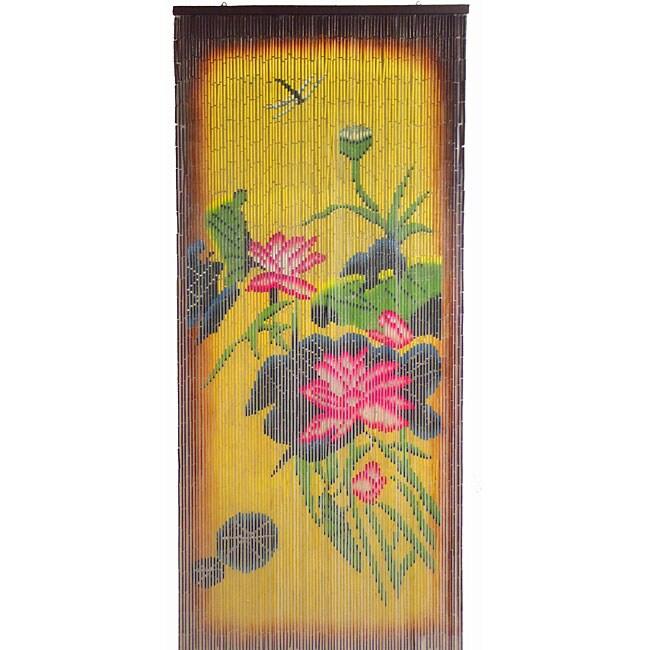 Bamboo Curtain Earthones Flowers , Handmade in Vietnam (3...