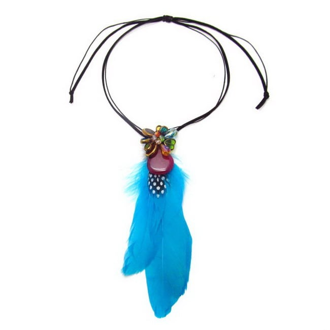 Handmade Statement Blue Feather Pull Slide Necklace (Thailand) - Thumbnail 0