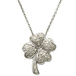 Beverly Hills Charm Sterling Silver 1/4ct TDW Diamond Heart Clover Necklace
