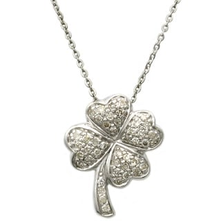Sterling Silver 1/4ct TDW Diamond Heart Clover Necklace
