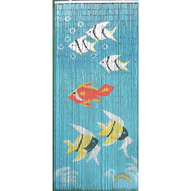 Indoor-Outdoor Blue Bamboo Curtain with Tropical Fish Des...