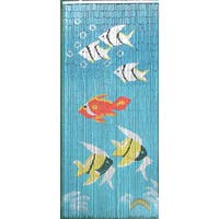 Indoor-Outdoor Blue Bamboo Curtain with Tropical Fish Design (Vietnam)