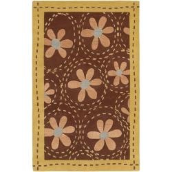 Hand-tufted Contemporary Gold Ashland New Zealand Wool Abstract Rug (9' x 13')