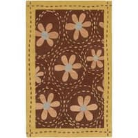 Hand-tufted Contemporary Gold Ashland New Zealand Wool Abstract Area Rug - 9' x 13'