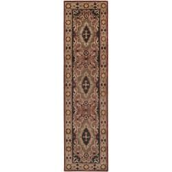 "Hand-Knotted Multicolored Adams Semi-Worsted New Zealand Wool Border Rug (2'6"" x 10')"