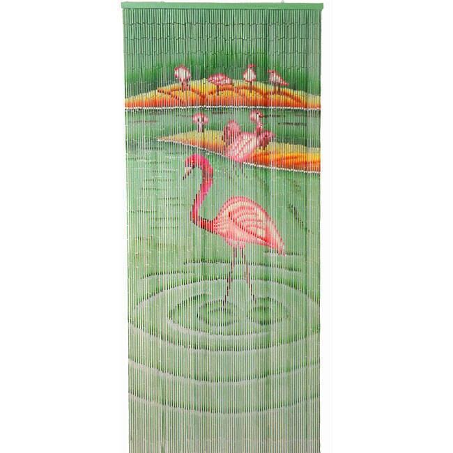"Flamingoes Bamboo Curtain (Vietnam) (36"" w x80""), Green, ..."