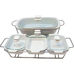 Le Chef White Ceramic Bakeware Serving Tray Set